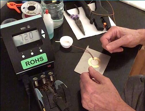 how to solder joints onto a piezo transducer set up